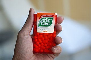 Tic Tac brand of small, hard candy mints