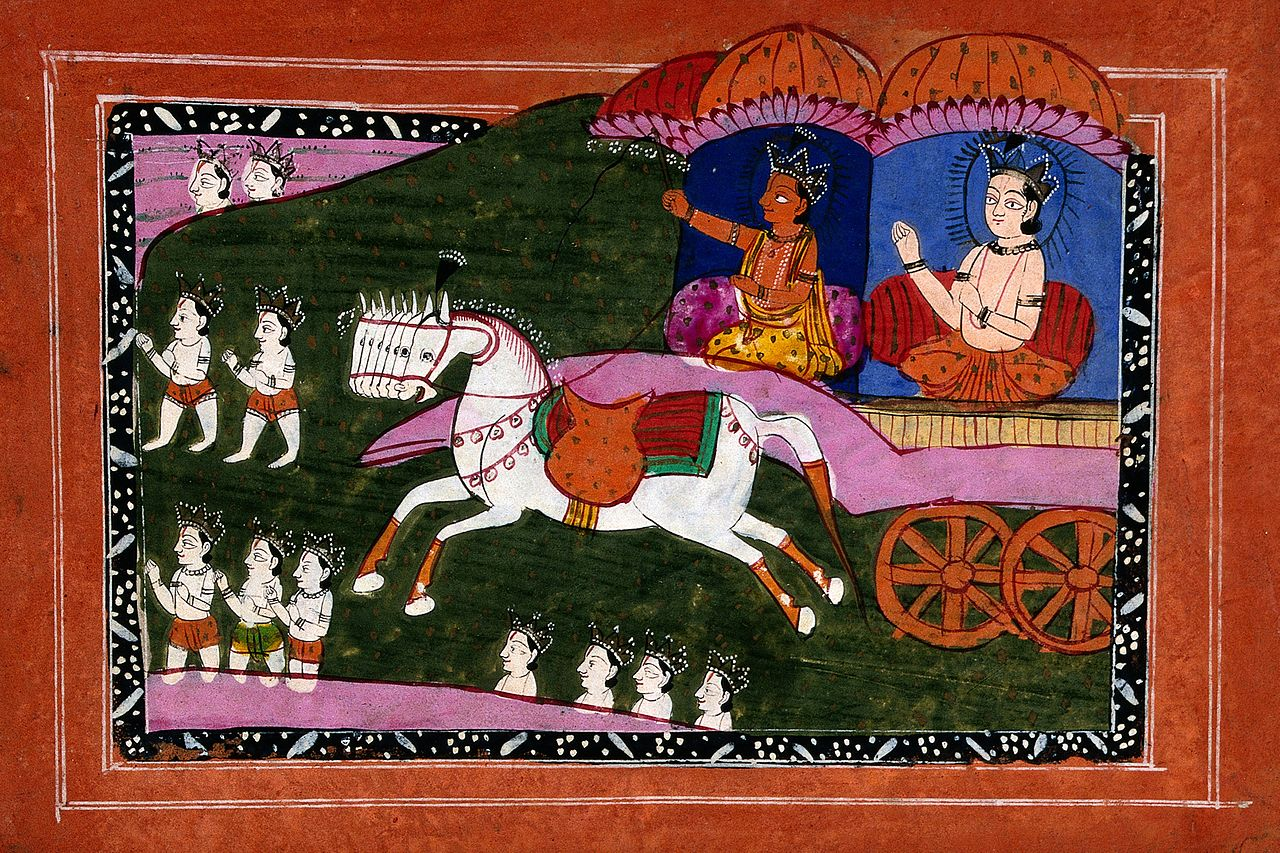Surya the sun deity driving in his chariot. Gouache drawing. Wellcome V0045217.jpg