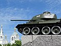 T-34 Tank Monument with Cathedral Backdrop - Zhytomyr - Polissya Region - Ukraine (27102541526).jpg