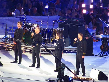 "Take That performing ""Rule the World"" at the 2012 Olympic Games closing ceremony in London"