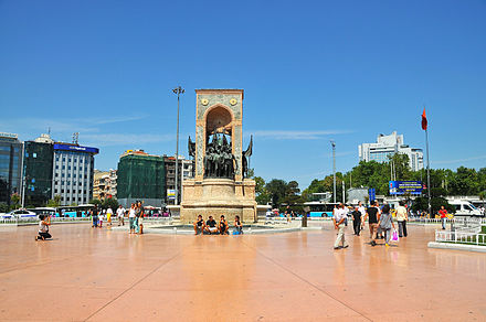 A view of Taksim Square with the Republic Monument (1928) designed by Italian sculptor Pietro Canonica. Taksim Square 2012.jpg