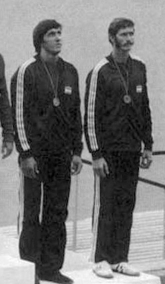 Tamás Buday - Buday (left) at the 1976 Olympics