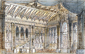 Tancredi - Francesco Bagnara's set for Act 1 scene 1, Venice 1833