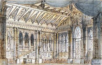 Tancredi - Francesco Bagnara's set for Act 1 scene 1, Venice 1833