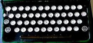 "Shift key - Keyboard of a German mechanical typewriter (early 20th century), with shift keys labelled ""Umschalter"" (""switch"")"