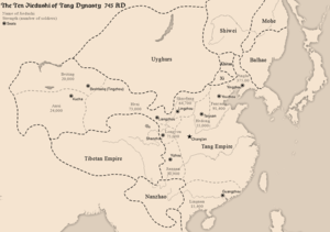 Jiedushi - Map of the 10 major Jiedushi of Tang dynasty and their military strengths during Emperor Xuanzong's reign (as of 745 AD)