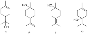 Terpineol - Terpineols: alpha-, beta-, gamma-, and the 4-terpineol isomer