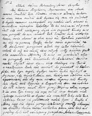Texas Silesian - An example of Texas Silesian - a letter written from Texas to Poland