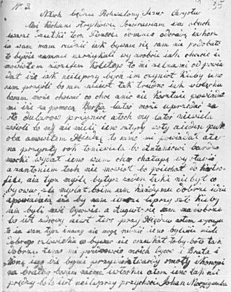 Texas Silesian - An example of Texas Silesian - a letter written from Texas to Poland
