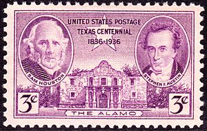 Stephen F. Austin - Sam Houston and Stephen Austin depicted on the Texas Centennial Issue postage stamp of 1936