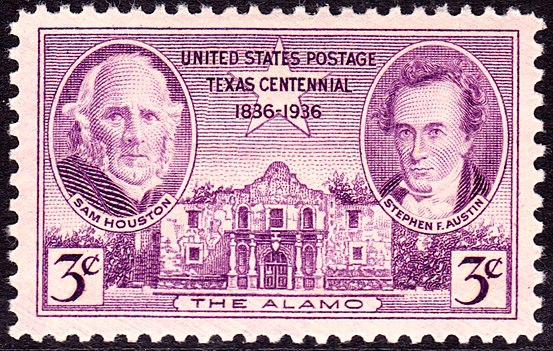 First stamp to commemorate battle was issued in 1936, the 100th anniversary of the battle, depicting Sam Houston and Stephen Austin. The Alamo 1936 Issue-3c.jpg