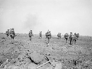 Battle of the Somme - British troops moving up to the attack during the Battle of Morval, 25 September 1916.
