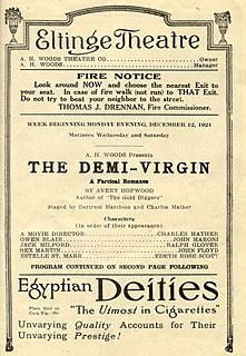 <i>The Demi-Virgin</i> 1921 stage play
