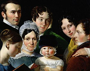 Claude-Marie Dubufe - The Dubufe family in 1820 by Claude-Marie Dubufe, with the artist at the right, now in the Louvre. The child in the middle (his son, Édouard) also became a painter