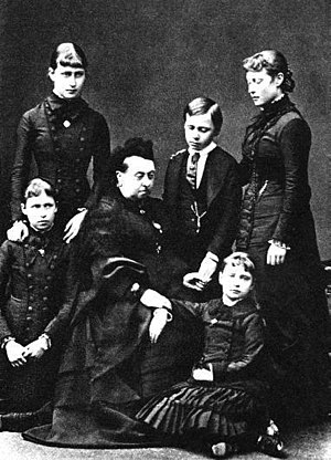Alexandra Feodorovna (Alix of Hesse) - Princess Alix of Hesse, lower right, with her grandmother Queen Victoria and her four older siblings in mourning after the deaths of her mother and sister. January 1879