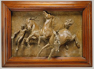 William Morris Hunt - The Horses of Anahita, bas relief sculpture prefiguring Hunt's murals for the New York State Capitol, c. 1848, Metropolitan Museum of Art