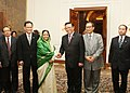 The Indonesian Parliamentary Delegation led by the Speaker of the House of Representatives of Indonesia, Mr. Agung Laksono calling on the President, Smt. Pratibha Devisingh Patil, at Rashtrapati Bhavan, in New Delhi.jpg