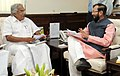 The Minister of State for Information and Broadcasting (IC), Environment, Forest and Climate Change (IC) and Parliamentary Affairs, Shri Prakash Javadekar meeting the Chief Minister of Kerala, Shri Oommen Chandy.jpg