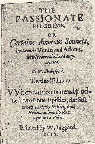 The Passionate Pilgrim - Image: The Passionate Pilgrim 1612