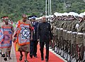The President, Shri Ram Nath Kovind inspecting the Guard of Honour, during the Ceremonial Reception, at Lozitha Palace, in Swaziland, Shikhuphe on April 09, 2018. His Majesty Mswati III, the King of Swaziland is also seen.jpg
