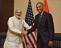 The Prime Minister, Shri Narendra Modi meeting the President of United States of America (USA), Mr. Barack Obama, on the sidelines of the 11th East Asia Summit, at Vientiane, Lao PDR on September 08, 2016.jpg