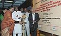 The Speaker, Lok Sabha, Smt. Meira Kumar lighting the lamp to inaugurate the workshop-cum-exhibition, organised by Parliamentary Forum on Artisans and Craftspeople in association with the Ministry of Textiles.jpg