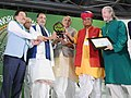The Union Minister for Agriculture and Farmers Welfare, Shri Radha Mohan Singh giving away the Dharti Mitr Award to the winners, at the inauguration of the 19th Organic World Congress 2017, at Greater Noida, Uttar Pradesh.jpg