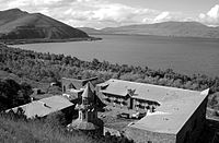 The Vaskenian Seminary in Sevan from the medieval chapel.jpg