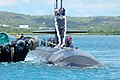 The attack submarine USS Chicago (SSN 721) returns to Apra Harbor, Guam, April 25, 2013, after completing its first mission as part of Commander, Submarine Squadron 15 130425-N-LS794-035.jpg