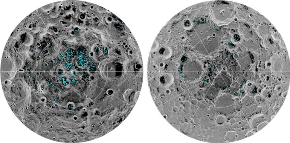 The image shows the distribution of surface ice at the Moon%27s south pole (left) and north pole (right).webp