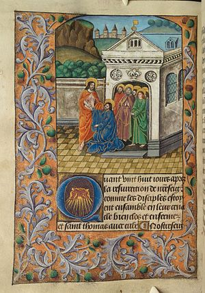The incredulity of Thomas, who places his finger in the wound