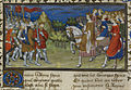 The meeting of Alexander the Great and the Amazons - La Vraye Histoire du Bon Roy Alixandre (early 15th C), f.47v - BL Royal MS 20 B XX.jpg