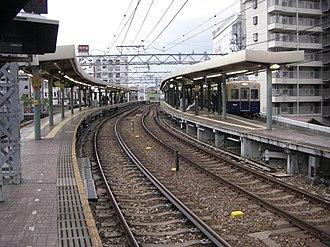 Hanshin Main Line - Image: The platform of Mikage Station on the Hanshin Main Line 01