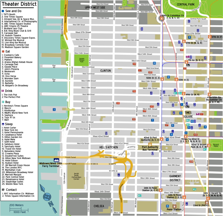 Map of Manhattan/Theater District