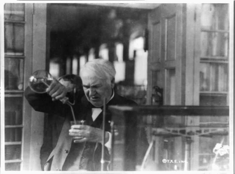 File:Thomas Edison, experimenting in his laboratory.png