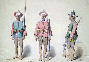 Burmese–Siamese War (1849–55) - Image: Three Burmese infantry soldiers