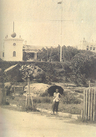 1908 Hong Kong typhoon - Timeballs near Tsim Sha Tsui Marine Police Headquarters Compound, 1908