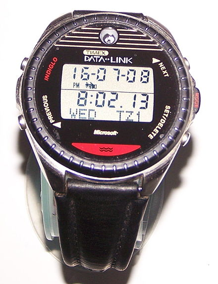 Timex Datalink Model 150 as worn by commander William Shepherd during Expedition 1 and cosmonaut Mikhail Tyurin, Expedition 14, on the International Space Station in 2006 Timex Datalink Model 150.JPG