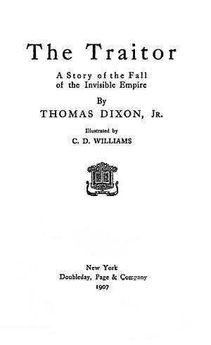 The Traitor (Dixon novel) - Title page of the first edition of The Traitor.