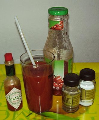 Tomato juice - Tomato juice with other ingredients found in Bloody Mary mix