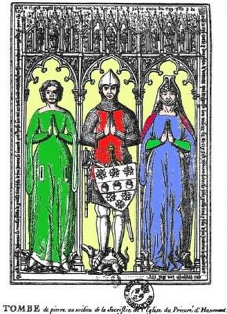 Guillaume Tirel - Tomb of Guillaume Tirel and his two wives, and three stew-pots on his shield. Image extracted from the works of Baron Jérôme Pichon et Georges Vicaire (Paris, Techener, 1892)