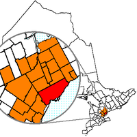 A map of Toronto's Census Metropolitan Area, which contains a large portion of the Greater Toronto Area.