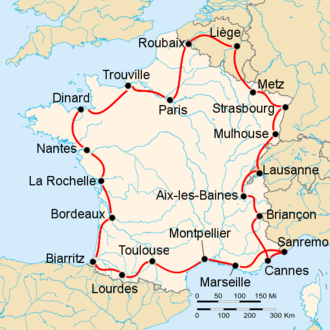 1948 Tour de France - Route of the 1948 Tour de France followed counterclockwise, starting and finishing in Paris