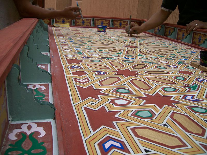 File:Traditional Moroccan Painted Woodwork.JPG