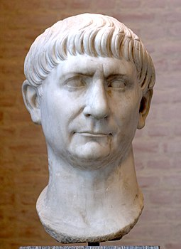 Marble bust of Roman Emperor Trajan, born in Roman Hispania (in Italica near modern-day Seville) Traianus Glyptothek Munich 336.jpg