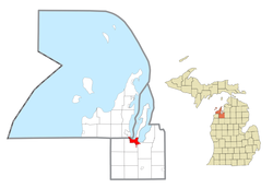 Location within Leelanau County (top) and Grand Traverse County (bottom)