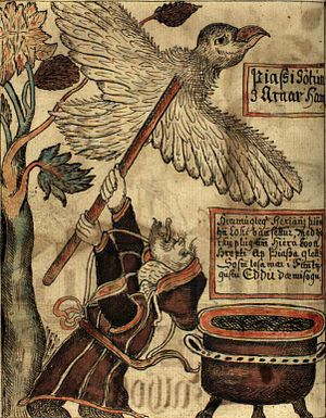 Prose Edda - Thjazi and Loki. Beginning of the myth of the abduction of Idun, reported by Skáldskaparmál. Manuscript NKS 1867 4to (Iceland, 1760), Copenhagen, Royal Library