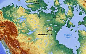 Tulemalu Lake - Image: Tulemalu Lake Nunavut Canada locator 01