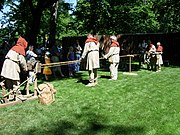 Public demonstration of historical ropemaking technique