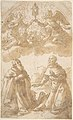 Two Male Saints Kneeling with Angels Holding a Reliquary. MET DP807826.jpg